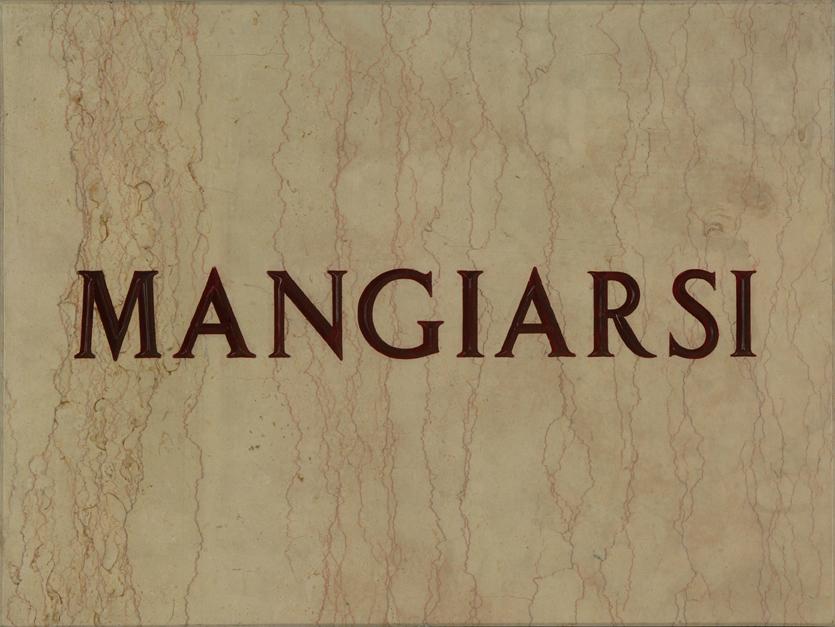 Mangiarsi, 1971, lapide in marmo, 30 x 40 cm