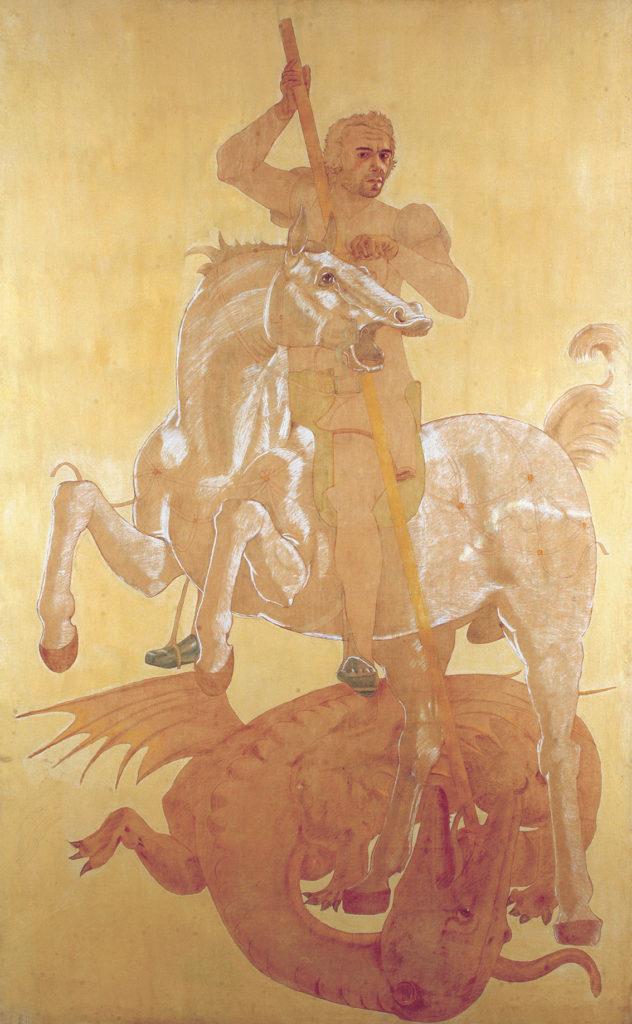 San Giorgio, 1973, olio su carta, 320 x 200 cm