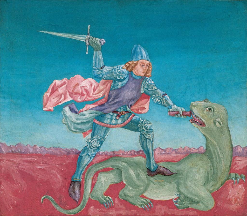San Giorgio e il Drago, 1974, olio su tavola, 63 x 79 cm