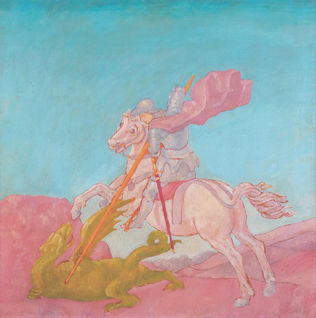 San Giorgio e il drago da Raffaello, 1974, olio su tavola, 70 x 70 cm
