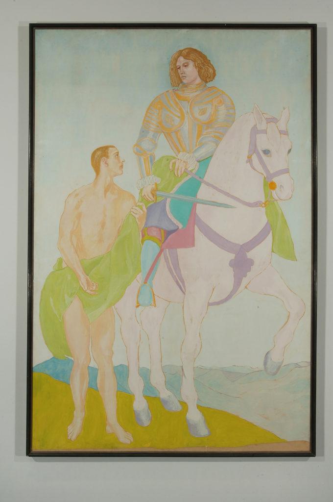 San Martino e il Povero, 1974, olio su carta applicata su tela, 286 x 189 cm