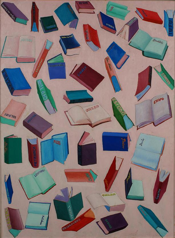 48 poeti, 1975, olio su tavola, 50 x 100 cm