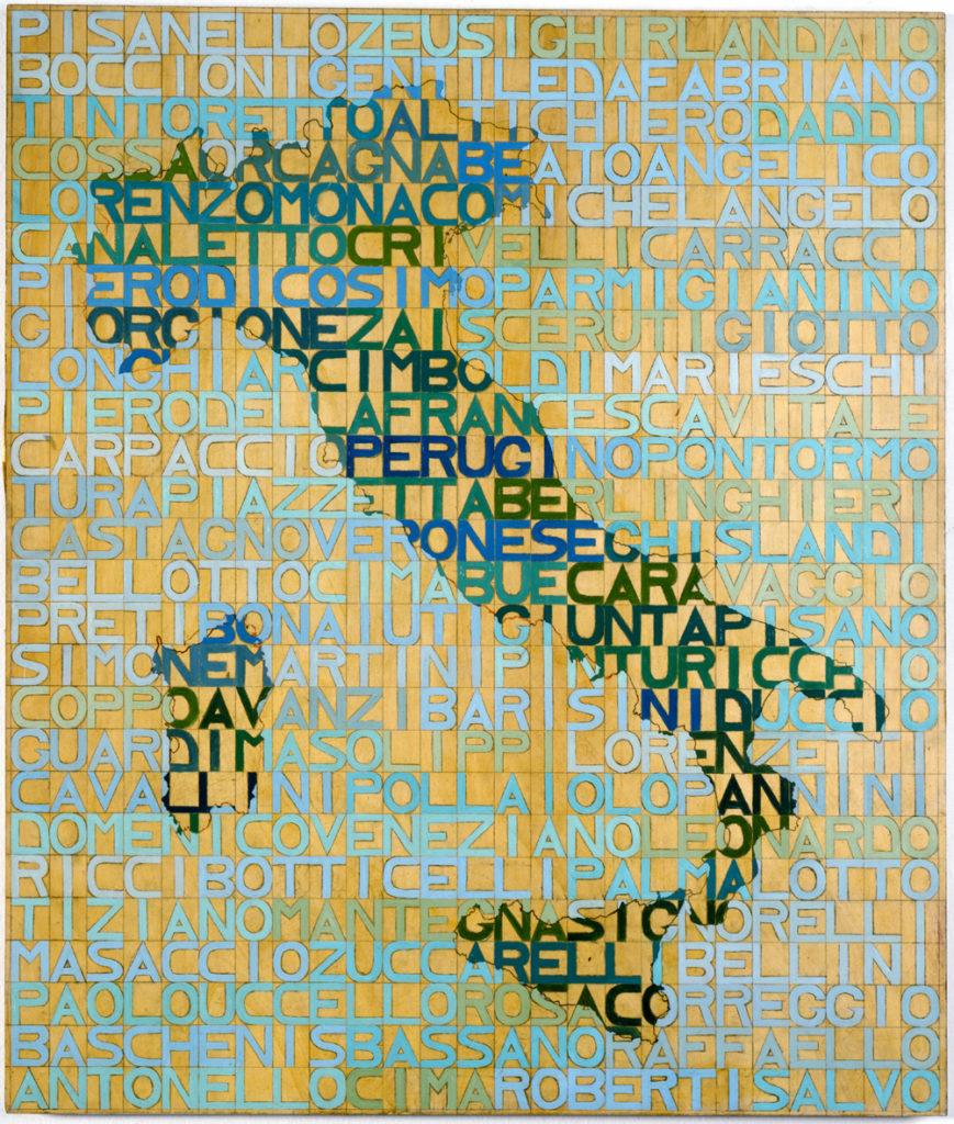 77 pittori italiani, 1975, olio su tavola, 106 x 88 cm