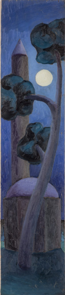 Notturno,1985, oil on board, 61 x 14 cm