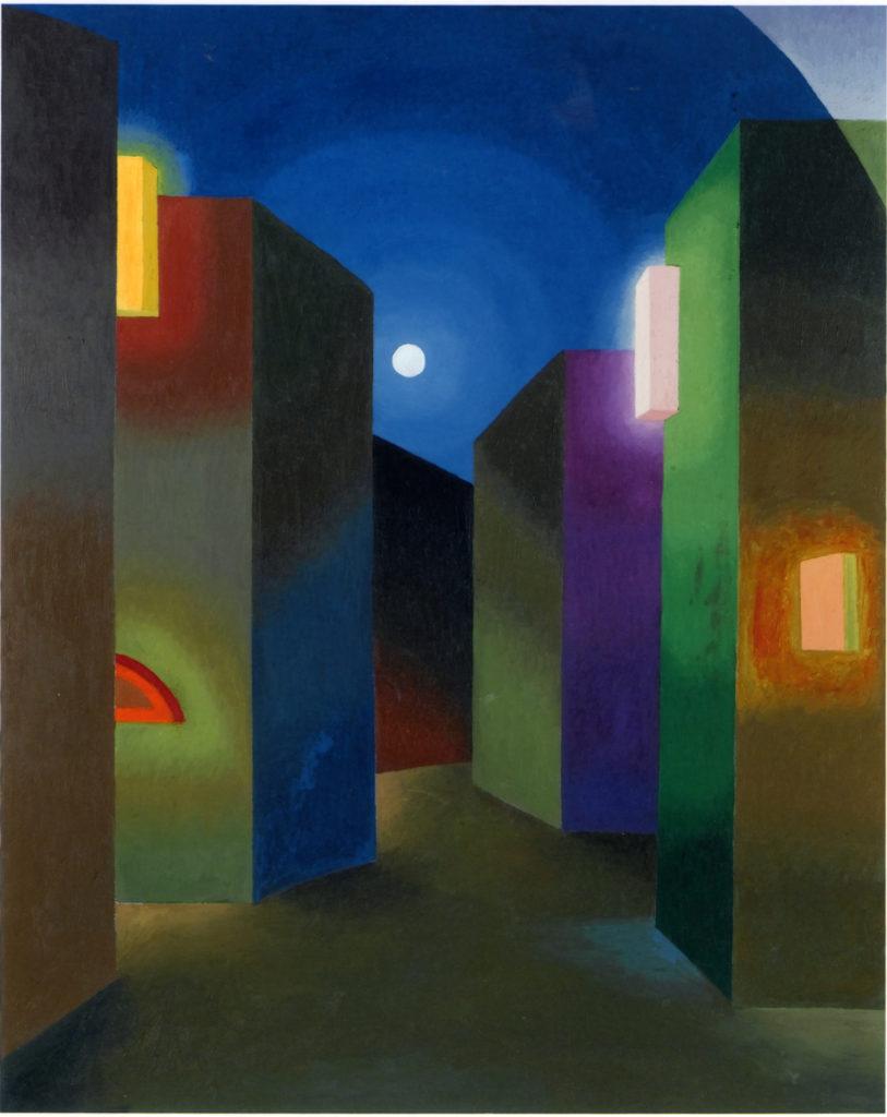 Luci e Luna, 1986, olio su tela, 149 x 119 cm