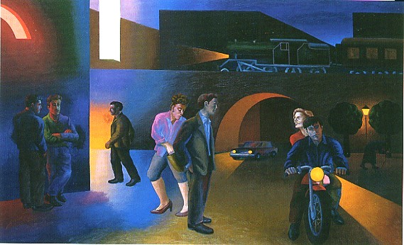 Al cinema, 1988, olio su tela, 208 x 330 cm