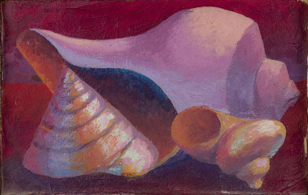 Conchiglie,1988, olio su cartoncino, 13 x 20,5 cm