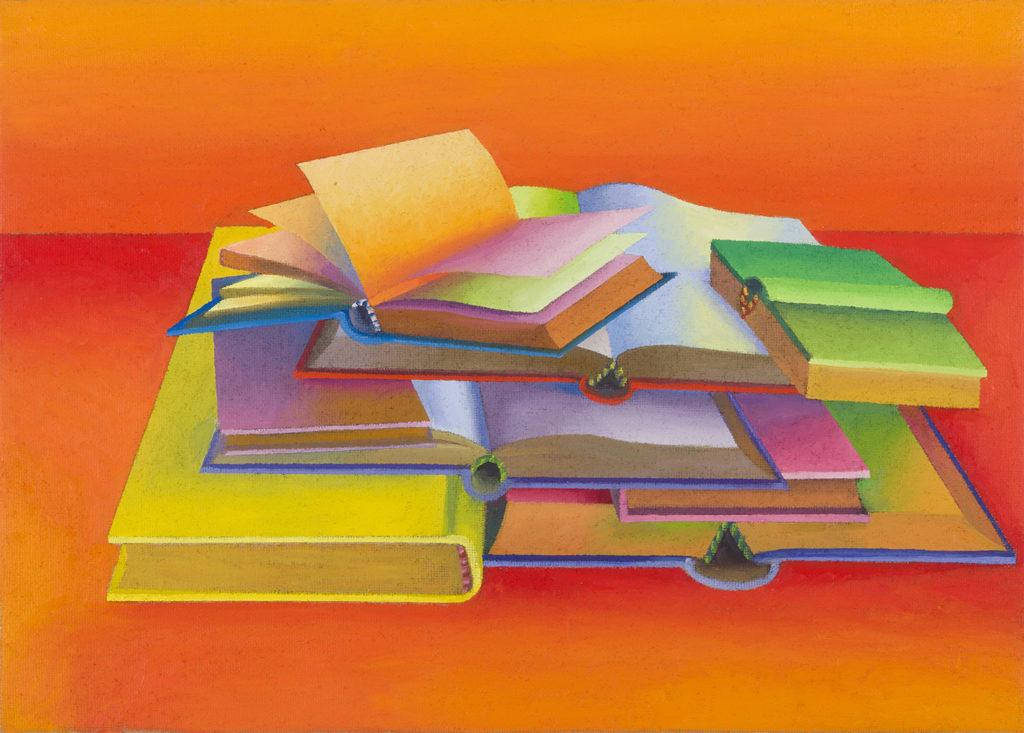 8 Libri, 2013, olio su tela, 50 x 70 cm