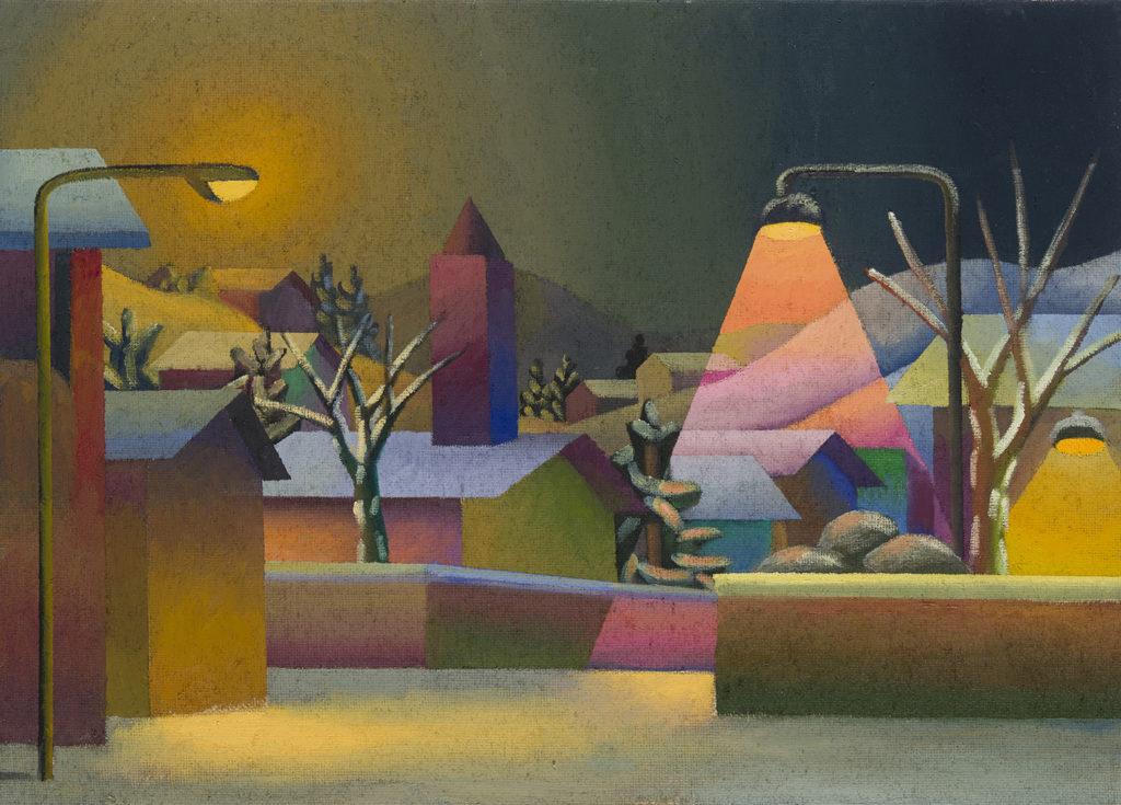 Il villaggio, 2014, olio su tela, 50 x 70 cm