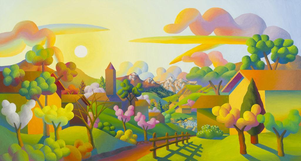 Mattino di primavera, 2014, olio su tela, 120 x 220 cm
