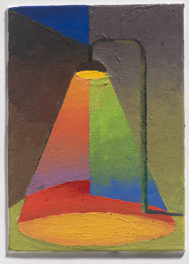 Strada notte lampione, olio su tela, 18 x 13 cm
