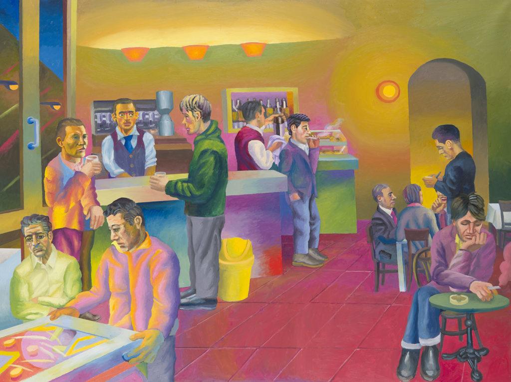 Bar, 2015, olio su tela e stoffa, 150 x 200 cm